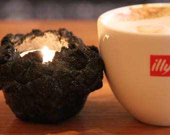 Candle holder made of volcano ash from Iceland.