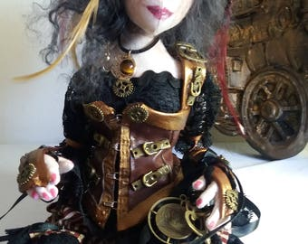 OOAK Cloth Steampunk handmade seated doll