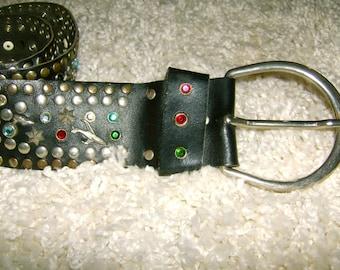 Custom Belt-Retro/Vintage-Hand Made, Unique, Rhinestones/Studs - Quality Crafted