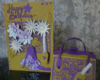 Female Birthday card with Matching Gift Bag -Purple and Green with Fairy and flowers