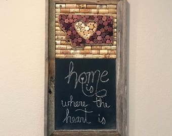 Wine cork art and chalkboard, Barnwood frame, Home state sign, rustic home decor, wine lover gift, farmhouse decor