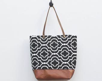 Canvas Tote - Black with White Pattern Print, Faux Leather Bottom, Leather Handles, Book Bag, Water Resistant Tote, Everyday Tote