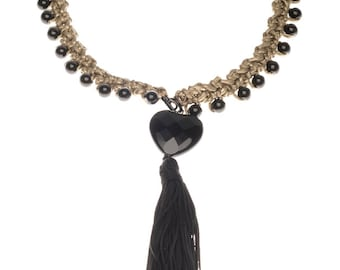 Long crochet necklace with black tassel