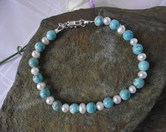 Pearl and Turquoise Bracelet with Sterling Silver Clasp