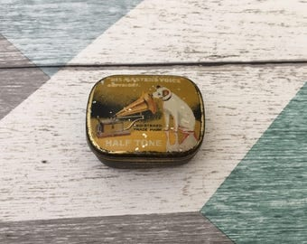 The Gramophone Company Needle Tin, Vintage His Masters Voice Needle Tin hinged lid