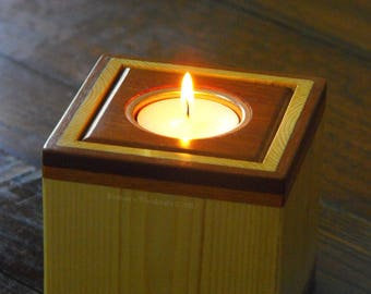 Wooden tealight holder.