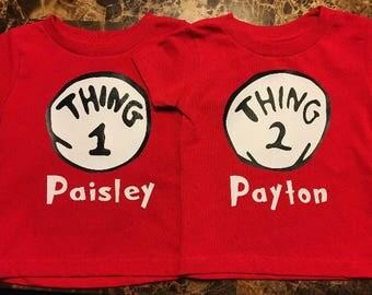Thing 1 and Thing 2 shirt set