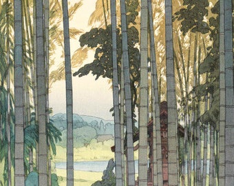"Japanese Art Print ""Bamboo Grove"" by Yoshida Hiroshi, woodblock print reproduction, asian art, cultural art, bamboo trees, countryside"