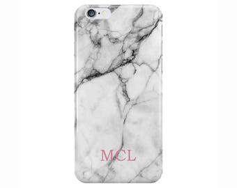 Personalised Name initials Pink White Marble Phone Case Cover for Apple iPhone 5 6 6s 7 8 Plus & Samsung Galaxy Customized Monogram