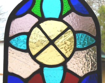 Stained Glass Arched Panel