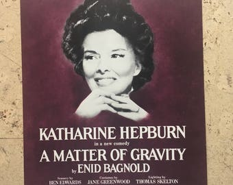 """Free shipping. Katherine Hepburn """"A Matter of Gravity"""". 1970s theatre poster."""