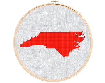 North Carolina Cross Stitch Pattern - NC Cross Stitch Pattern - State Cross Stitch Pattern - United States Cross Stitch Pattern