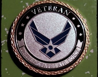 USAF Air Force Veteran Colorized Challenge Art Coin