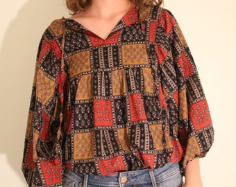 Vintage red and brown patterned blouse
