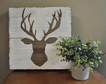 Wooden Deer Head Print