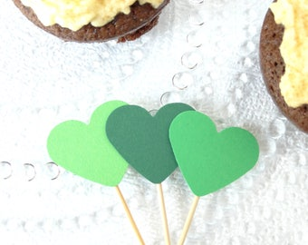 Green Cupcake Toppers - First Birthday - Green Wedding Decorations - Muffin Toppers