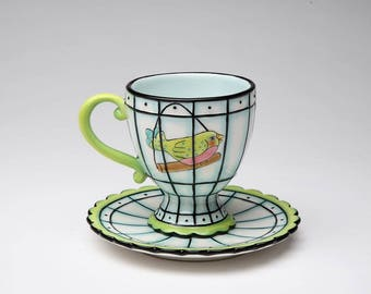 Bird Cage Cup and Saucer (61904)