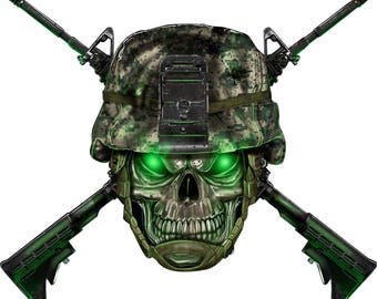 Skull and crossed guns decal, full color camouflage skull, army decal