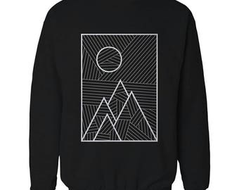 Minimalistic Lines Landscape Organic Cotton Crewneck With Geometric Design