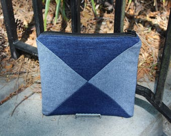 Multicolored Denim Clutch