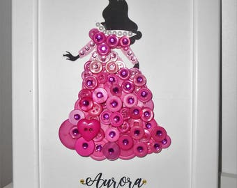Disney's Sleeping Beauty Princess Aurora Inspired Button Art