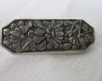 Vintage Solid Pewter Embossed Flower Motif Brooch
