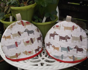 dachshund fabric small teacosy
