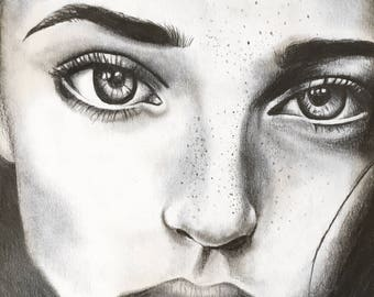 Custom portrait pencil sketch from your photo. Unframed. Weddings, Celebrities, family. Gift.