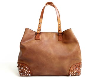 Studded leather and leather hand bag handbag with removable shoulder strap made in Italy
