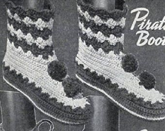 Pirate Slipper Boots Pattern , Crochet Pattern, Vintage Pattern, Retro