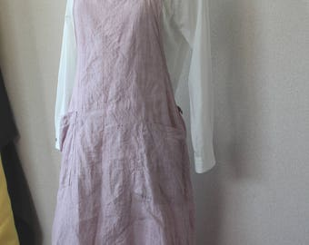 Side gather linen apron pink backcross linen 100% [MY BEST APRON]