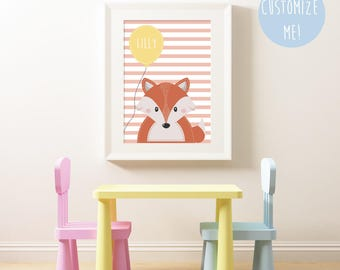 Woodland Fox Balloon Name Nursery Print, Customize your own. Choose your own background pattern, colour and name!
