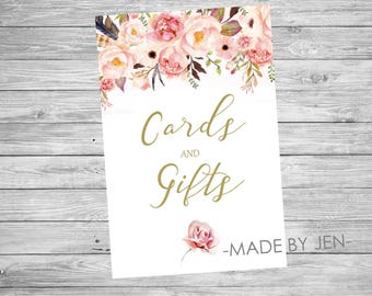 Cards and Gifts sign, Floral, Wedding, Pink and Gold,  DIGITAL FILE 4x6 CUSTOM