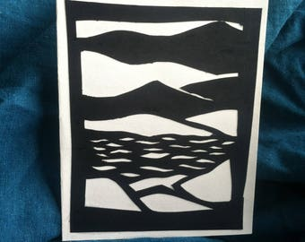 Papercut Greeting Card--Abstract Sea and Stones