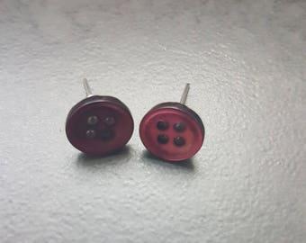 Purple button Stud Earrings