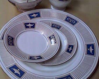"Coalport ""Palladian"" China circa 1964- 12 Dinner Plates, 12 Bread Plates, 12 Saucers, 12 Cups, Sugar Bowl & Creamer"