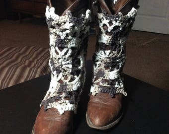 Boot Covers done in Brown and White Cotton