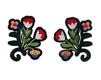 1pair Flower Applique Iron On Stick Embroidery Patches Sew On Fabric Flower Motifs Diy Craft Sewing Accessories TH205