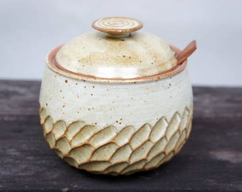 Moon Feather Jar with lid and spoon rest