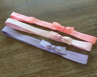 3 Baby Bow Elastic Headbands