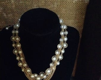 Faux Pearl and Gold Chain Choker/Bib Necklace