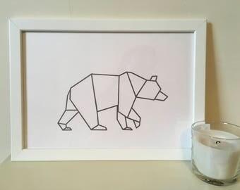 Orignami bear print