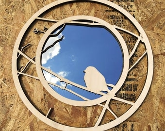 "BIRCH Laser Cut Wall Mirror: ""What does a lone bird, waiting, say to you?"""