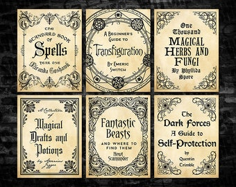 "Harry Potter Magical Textbook Covers, 8.5"" x 11"" Printable Book Covers, Hogwarts Textbook Covers, Party Printables, Instant Download"