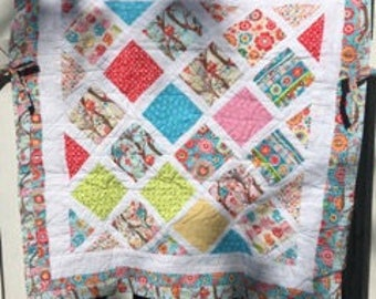 """Treehouse Owls Pink, Blue & White Baby Girl Car seat Quilt 31""""x 30"""""""