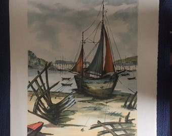 Jean Pierre Laurent, Nautical Scene Lithograph - S/N 51/225, French Artist