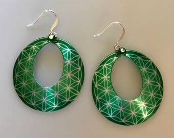Emerald Green Flower of Life Hoop Earrings-Flower of Life Jewelry-Sacred Geometry-Yoga Jewelry-Spiritual Gifts for Her-Seed of Life Jewelry