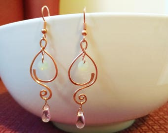 Copper Wire Wrapped Earrings with Crystal and Glass