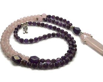 Amethyst - Rose quartz - Gemstone Mala necklace