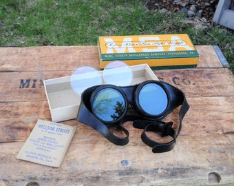 Vintage Mine Safety Appliances Company Clear Vision Gas Tight Goggles | Motorcycle Steam Punk | Rat Rod | Vintage Goggles |